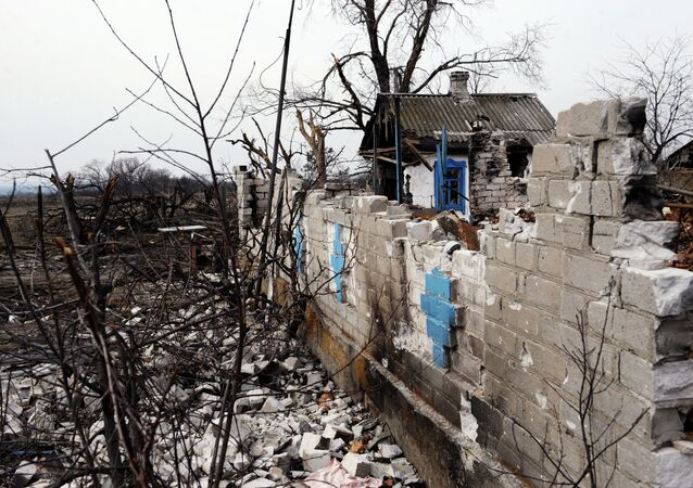 A destroyed structure in Logvinovo in the Donetsk Region