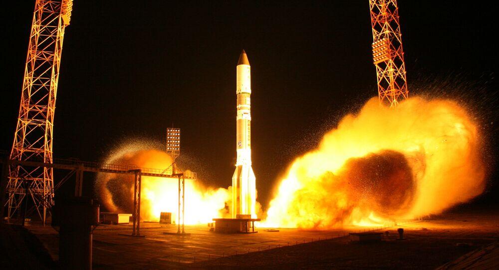 Launching Proton-M rocket carrying communications satellite