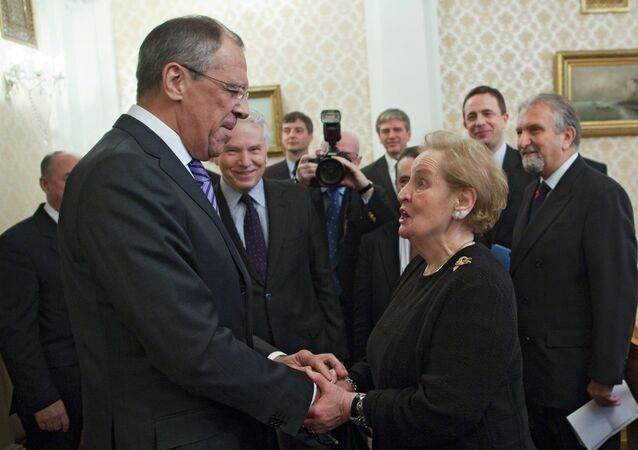 Russian Foreign Minister Sergei Lavrov meets with Madeleine Albright