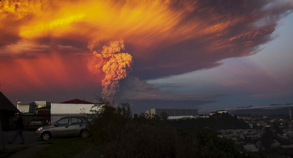 Smoke and ash rise from the Calbuco volcano as seen from the city of Puerto Montt, April 22, 2015.