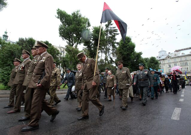Veterans of the Ukrainian Insurgent Army (OUN-UPA) march during the Heroes Festival in Lviv.