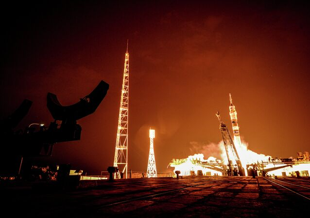 The launch of the Soyuz ТМА-14 rocket carrying the prime crew of the 41/42 International Space Station expedition, Baikonur Cosmodrome.
