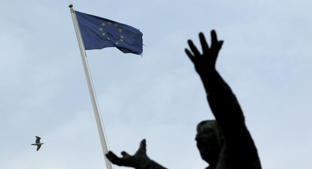 The European Union flag is seen with the statue of Irish trade union leader James Larkin in Dublin on December 11, 2013