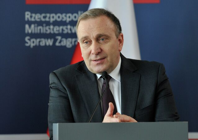 Poland's Foreign Minister Grzegorz Schetyna gives a press conference with his counterparts from Germany and France during a meeting of the so-called Weimar Triangle on April 3, 2015 in Wroclaw, Poland