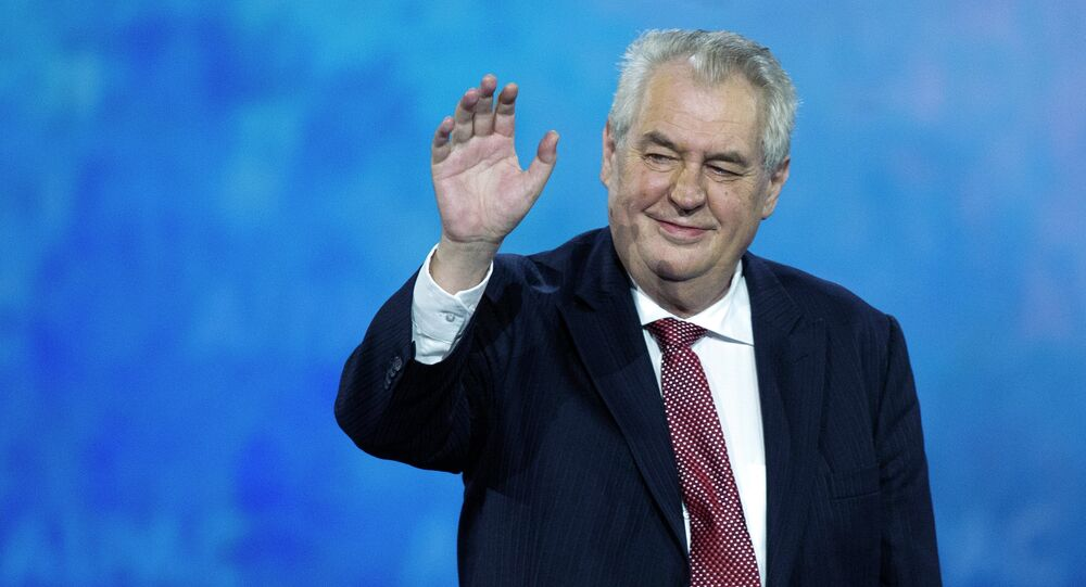 Czech Republic President Milos Zeman waves to the audience after speaking at the 2015 American Israel Public Affairs Committee