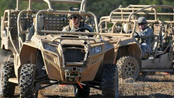US Army paratroopers drive Light Tactical All Terrain Vehicles (LTATV) through a familiarization course on Fort Bragg, North Carolina. - Sputnik International