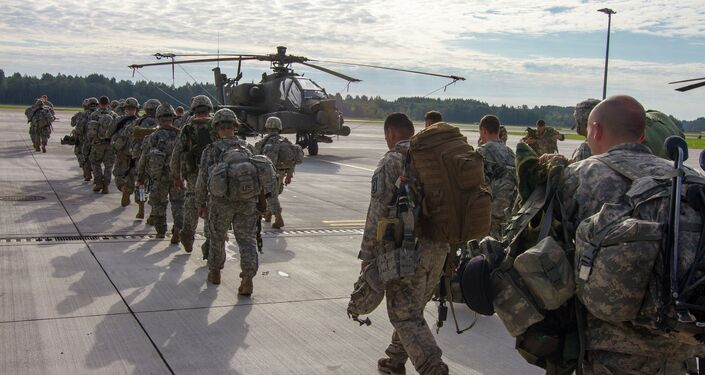 Paratroopers of 1st Battalion, 503rd Infantry Regiment, 173rd Airborne Brigade depart Lielvarde Airbase, Latvia, Sept. 8, 2014, at the conclusion of NATO Exercise Steadfast Javelin II