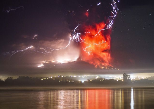 This view from Puerto Varas, southern Chile, shows a high column of ash and lava spewing from the Calbuco volcano, on April 23, 2015.