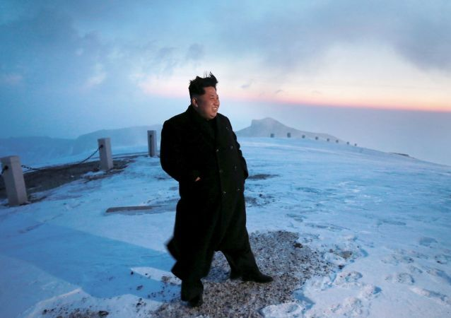 North Korean leader Kim Jong Un views the dawn from the summit of Mt Paektu April 18, 2015, in this photo released by North Korea's Korean Central News Agency (KCNA) on April 19, 2015.