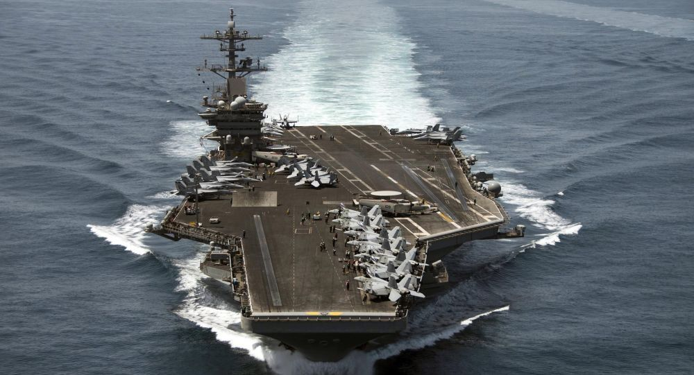 The aircraft carrier USS Theodore Roosevelt (CVN 71) operates in the Arabian Sea conducting maritime security operations in this U.S. April 21, 2015.