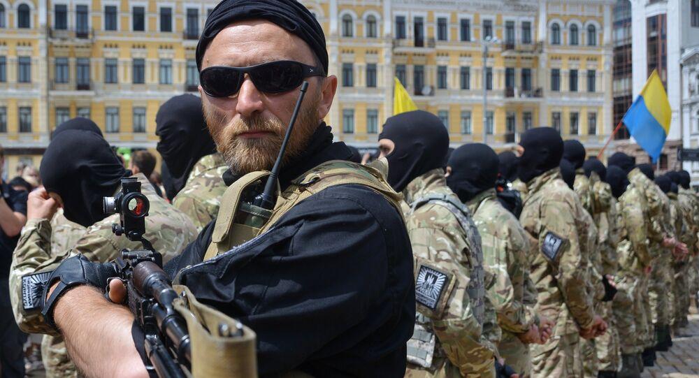 Recruits sworn in for Azov Battalion in Kiev