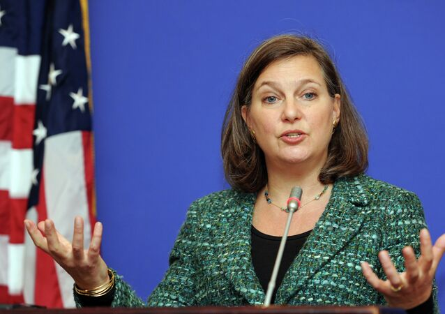 US Assistant Secretary of State for European and Eurasian Affairs Victoria Nuland gestures as she speaks during her press conference in Tbilisi