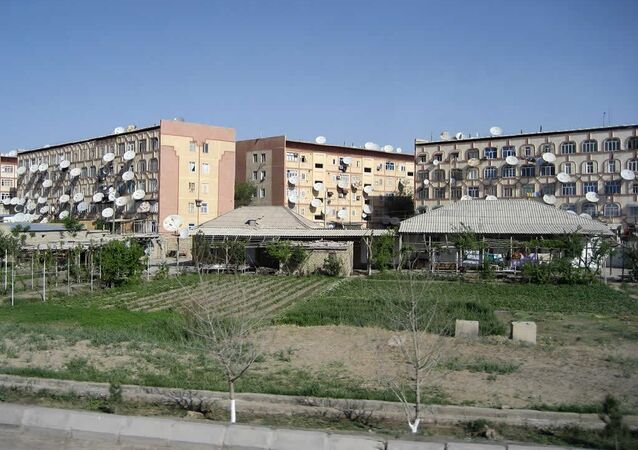 Satellite dishes cover three apartment buildings in Mary, Turkmenistan