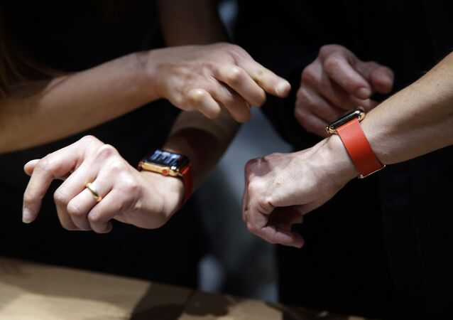 Members of the media and Apple guests get to review the new Apple Watch in the demo room after the Apple event