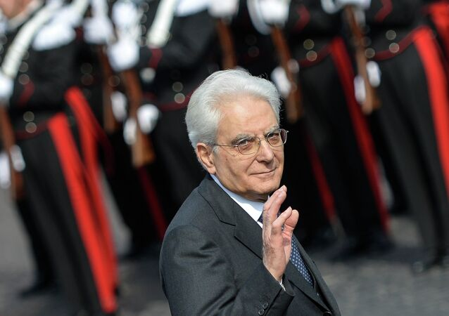Italian President Sergio Mattarella salutes in Rome, on April 25, 2015 during the ceremony of the 70th anniversary of the Liberation Day marking the end of the WWII in Italy.