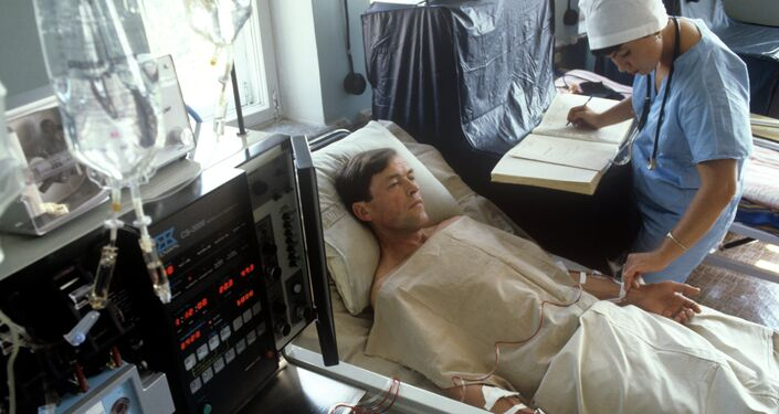 The 6th clinical hospital where victims of the Chernobyl disaster were brought. Examination of a patient in one of the wards