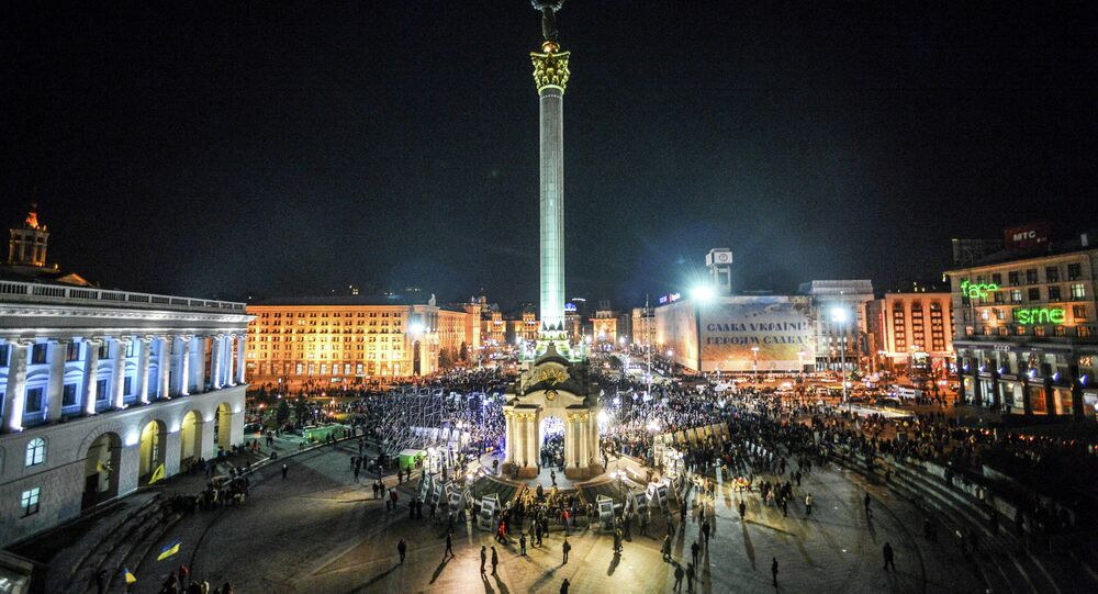 Kiev residents during memorial events on the anniversary of the first protests on Independence Square in Kiev.