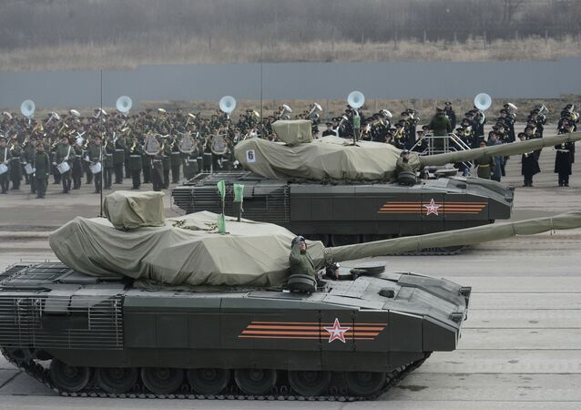 Joint Victory Parade training of foot and mechanized units