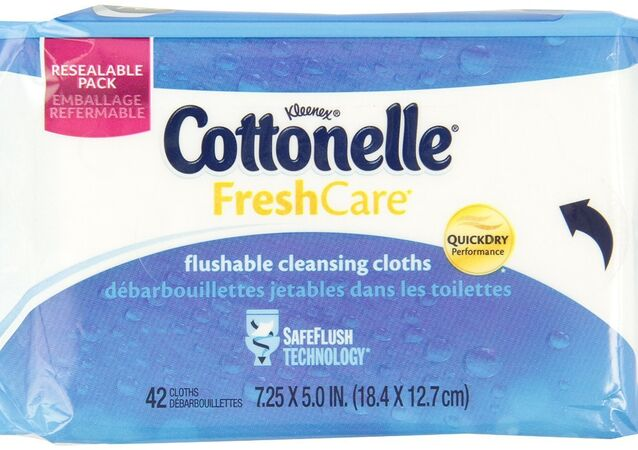 Kleenex Cottonelle brand flushable wipes that are produced by Kimberly-Clark Worldwide, Inc.