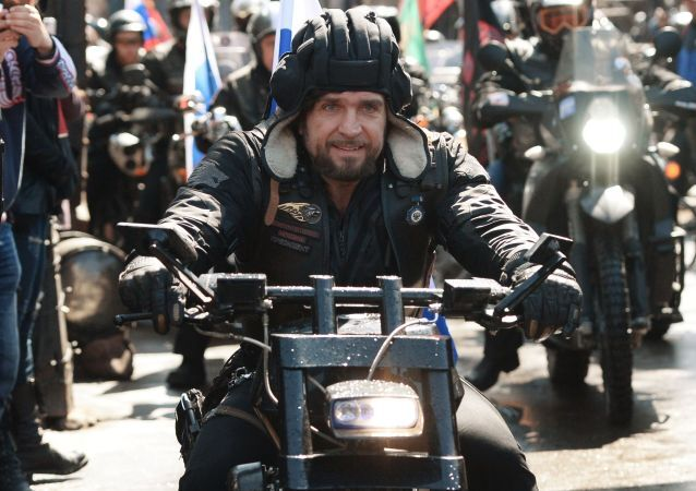 The leader of the Russian motorcycling club Night Wolves, Alexander Zaldostanov during the Night Wolves' road trip devoted to the 70th anniversary of the Soviet Union's victory over Nazi Germany in World War II