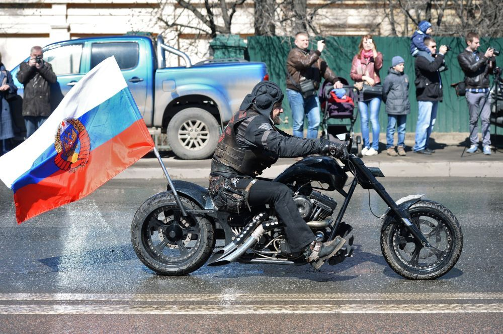 The leader of the Russian motorcycling club Night Wolves, Alexander Zaldostanov, aka Khirurg (Surgeon), at Prospekt Marshala Zhukova during the Night Wolves' road trip, devoted to the 70th anniversary of the Soviet Union's victory over Nazi Germany in World War II.