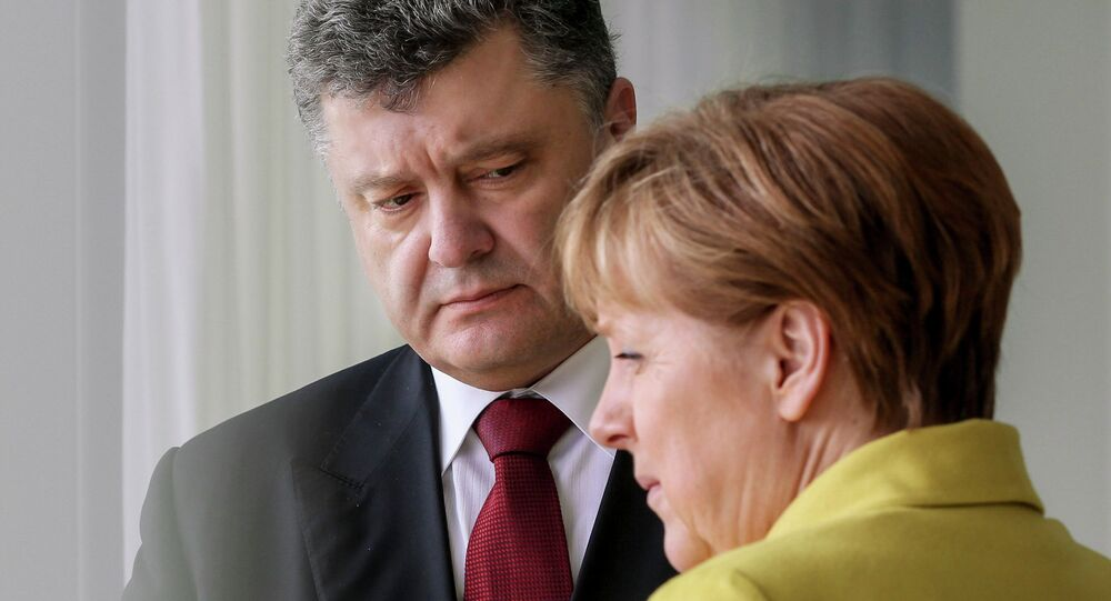 Ukrainian President Petro Poroshenko meets with German Chancellor Angela Merkel