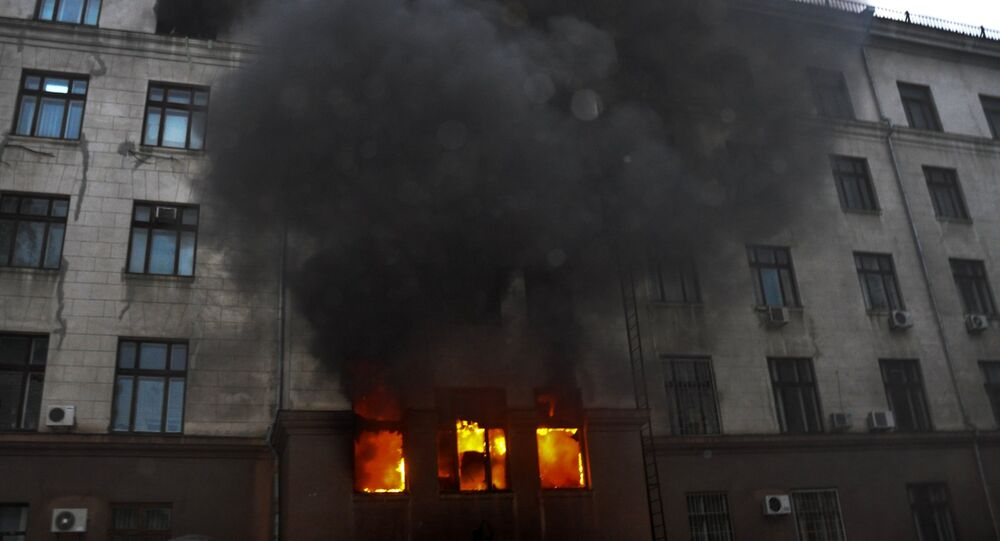 Fire at the Trade Union House in Odessa