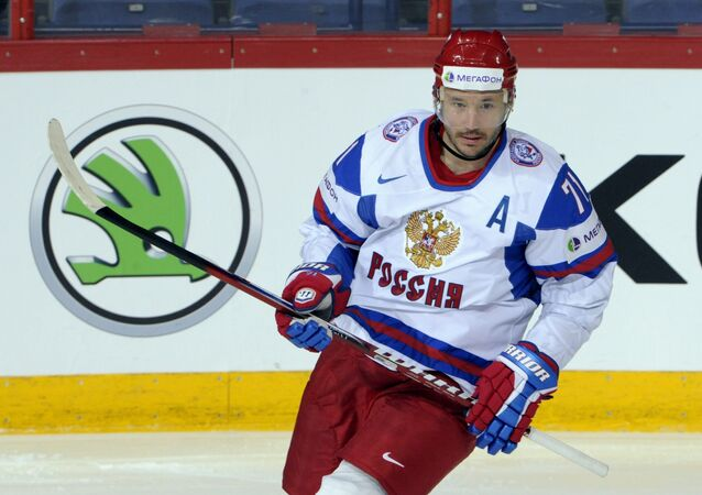 In this May 13, 2013 file photo, Russia's Ilya Kovalchuk celebrates his goal during the 2013 Ice Hockey World Championships match against Austria in Helsinki