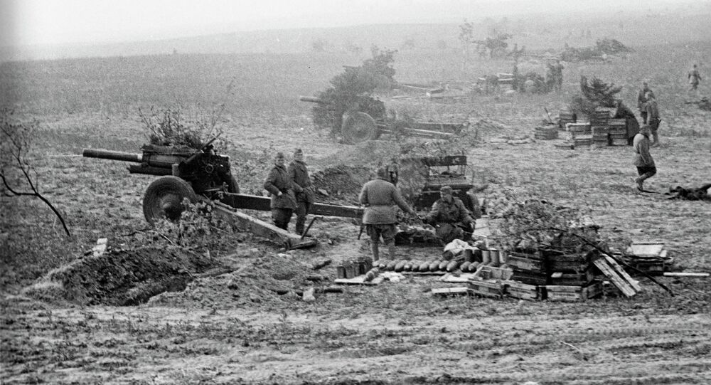 Soviet artillery forces before general passing to the Berlin offensive. April, 1945.