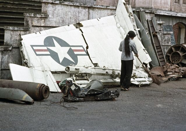 Fragments of warplane, which was downed over Hanoi