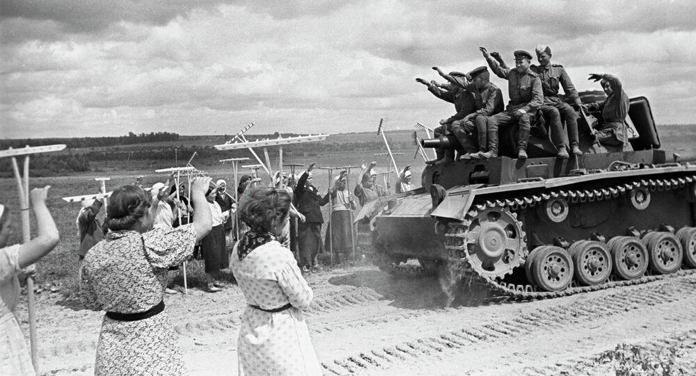 Soviet tank operators on captured tank