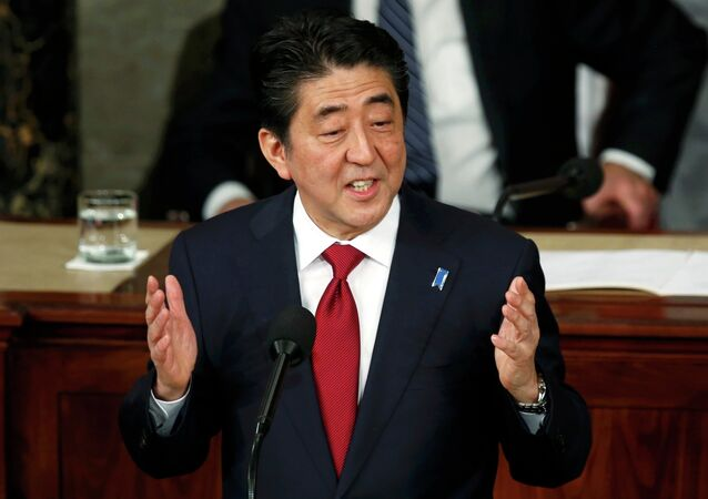 Japanese Prime Minister Shinzo Abe addresses a joint meeting of the U.S. Congress on Capitol Hill in Washington, April 29, 2015