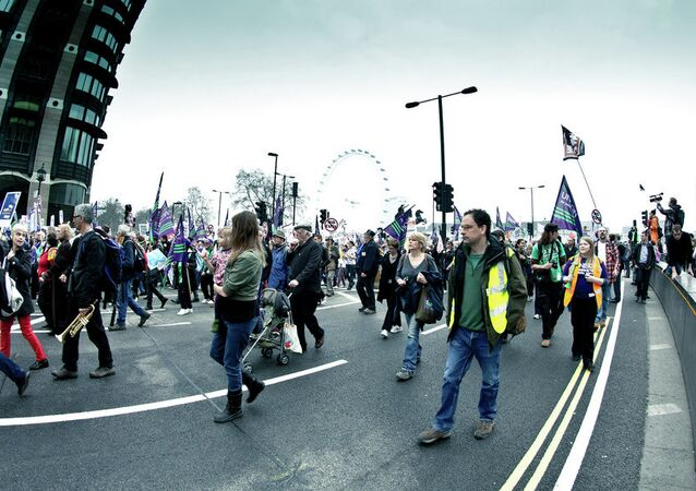 A protest against job cuts in London, UK