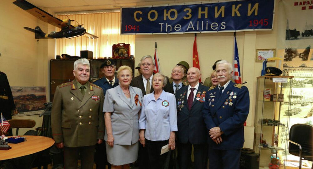 The US Ambassador to Russia John Tefft during visit of the museum Allies and Lend-lease