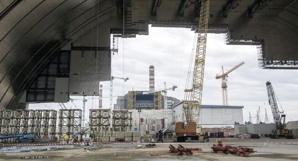 Construction is underway on the Chernobyl New Safe Confinement structure (NSC), an arch that will cover the reactor building once it is moved into position over the Chernobyl Nuclear Power plant, on February 26, 2015