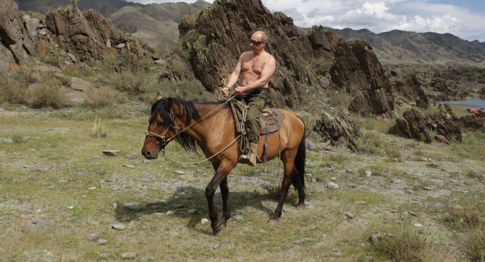 Vladimir Putin on vacation in Tyva Republic