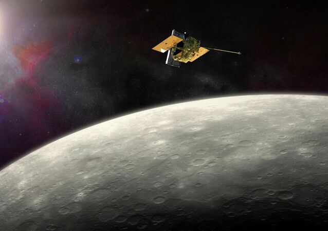 This artist's rendering provided by NASA shows the MErcury Surface, Space ENvironment, GEochemistry, and Ranging (MESSENGER) spacecraft around Mercury