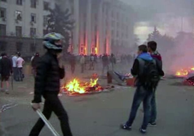This image made from AP video shows a building on fire in Odessa, Ukraine, on Friday, May 2, 2014