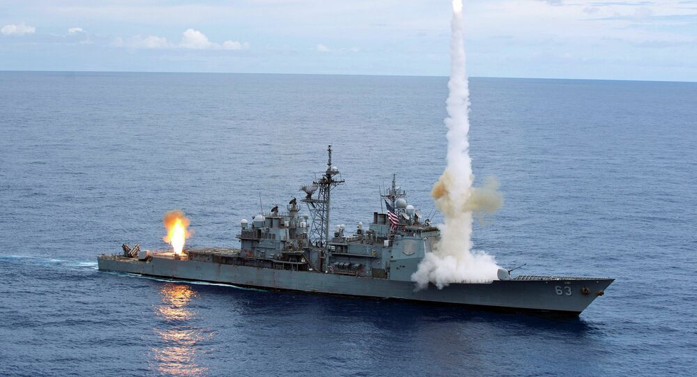 The Ticonderoga-class guided-missile cruiser USS Cowpens.