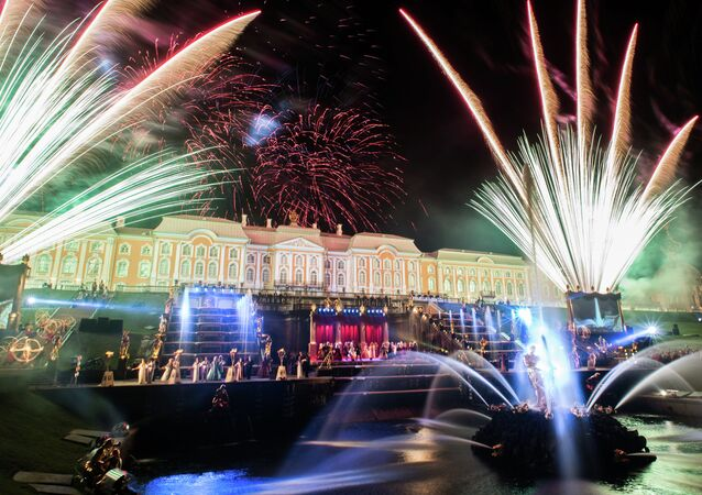A light-and-music pageant at the Grand Cascade of the Peterhof palatial and park ensemble in the environs of St. Petersburg on Fountain Day, which the city celebrates every autumn.