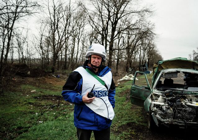 An International observer of the Organization for Security and Co-operation in Europe (OSCE) stands next to a destroyed car after shelling during an inspection tour near the village of Shirokino, near the eastern Ukrainian port city of Mariupol