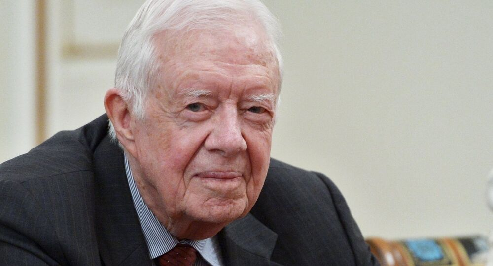 Former US President Jimmy Carter at Russian President Vladimir Putin's meeting with members of The Elders