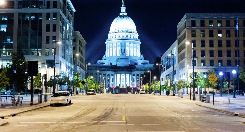 The street leading to the state Capitol in Madison, Wisconsin
