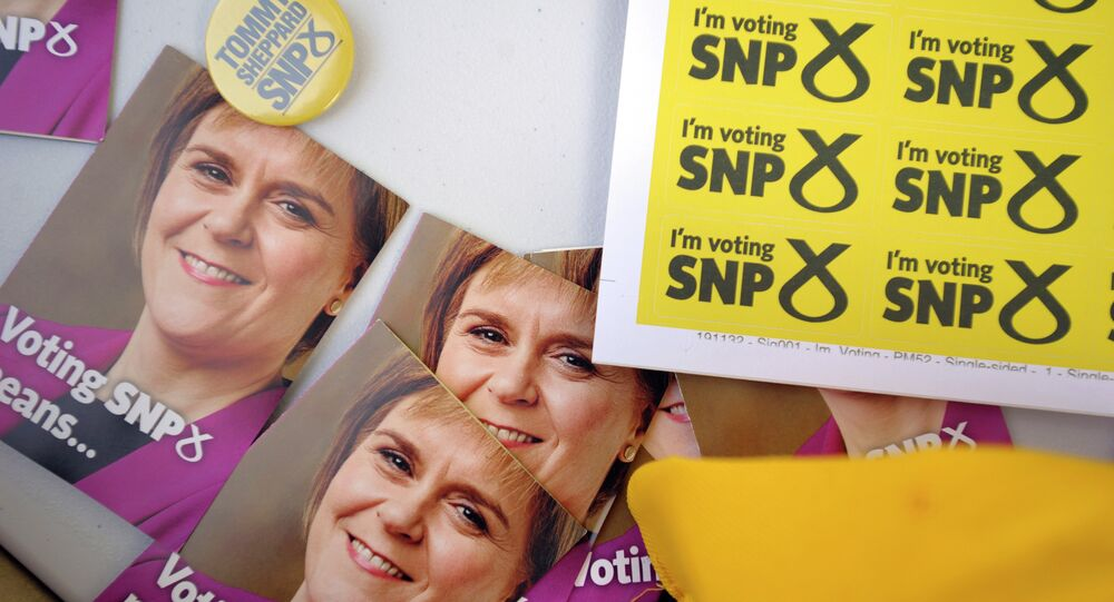 Campaign materials for the SNP featuring the face of Scottish First Minister and SNP leader Nicola Sturgeon in Edinburgh