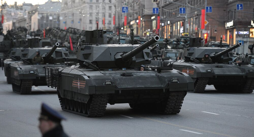 Armata T-14 during the rehearsal of the Victory Day military parade in Moscow