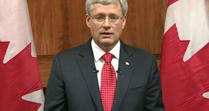 Canada Prime Minister Stephen Harper speaks during a televised address to the nation after October 22nd Ottawa attack.