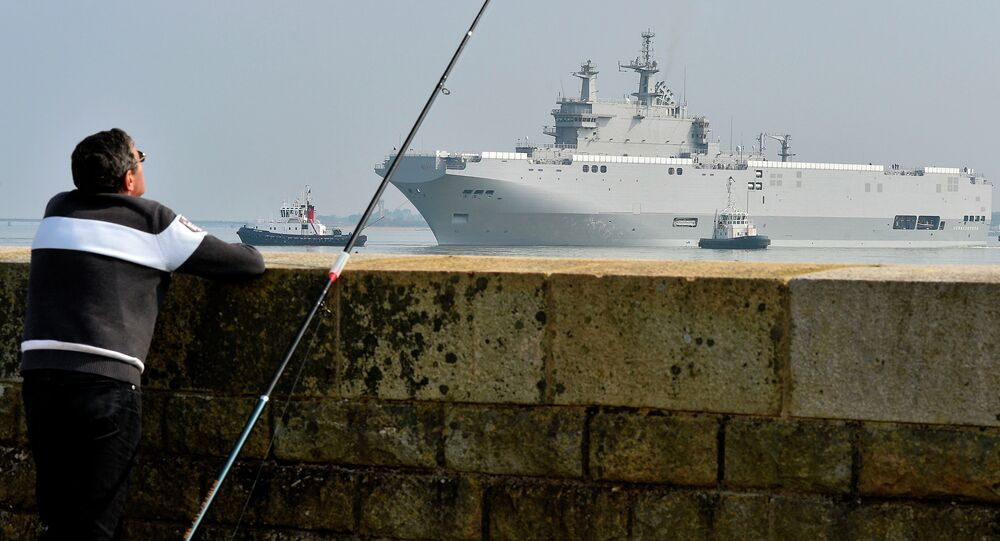 The Mistral-class warship Sebastopol on its way for its first sea trials, March 16, 2015 off Saint-Nazaire, western France