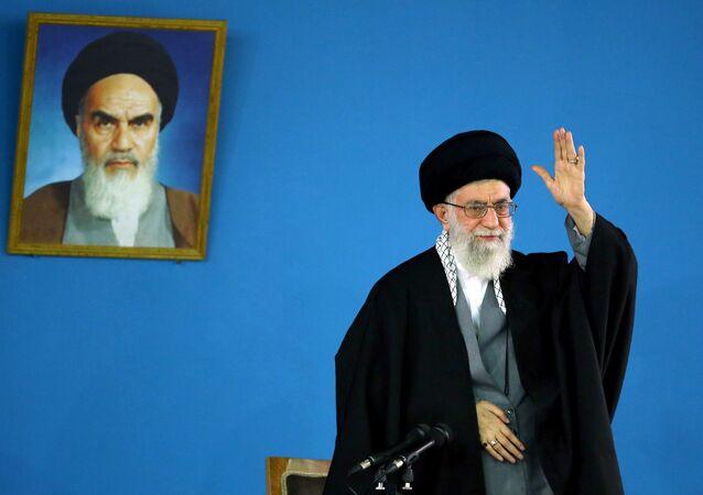 Iran's supreme leader Ayatollah Ali Khamenei, shows him delivering a speech in Tehran on January 7,2015