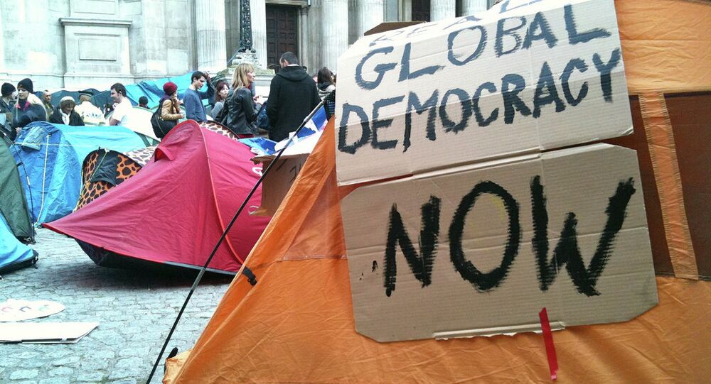 Global Democracy Now  Occupy London  Tents in front of St Pauls, London