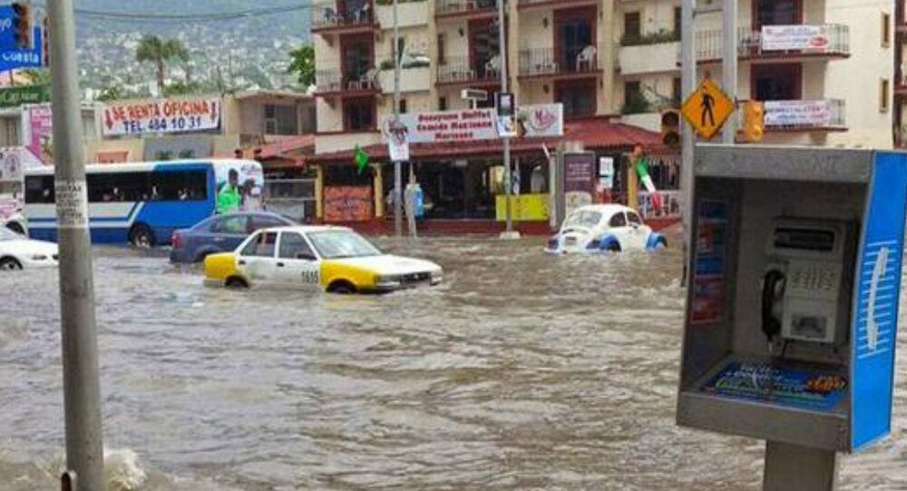 Urban flooding in Acapulco Mexico following large ocean swell